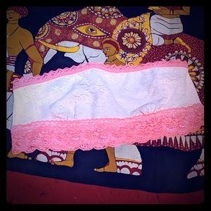 New VS PINK Bandeau bikini top pink & salmon lace
